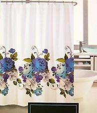 Rowley Blue Purple Teal Floral Border Print Fabric Shower Curtain NIP