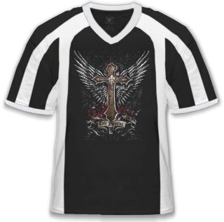 Cross Statue Mens V neck Sport T shirt Angelic Wings Faith Religious