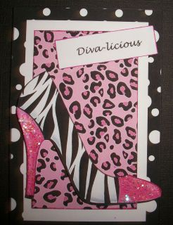 Handmade Greeting Card 3D With A Hot Pink Zebra Print Shoe