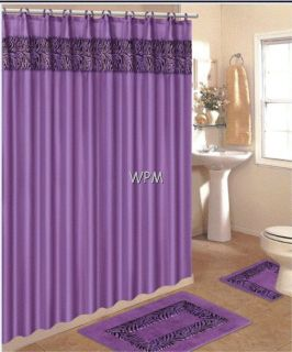 rug set animal purple zebra print bathroom shower curtain mat/rings