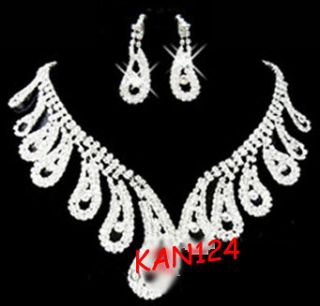 I1   BRIDAL WEDDING BLING CRYSTAL WATER DROP JEWELRY NECKLACE EARRING