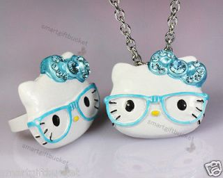 Lots Hello Kitty Ring With Necklace Glasses Crystal Stone Blue BN13