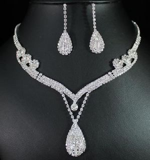AUSTRIAN RHINESTONE CRYSTAL NECKLACE EARRINGS SET BRIDAL PROM N1388