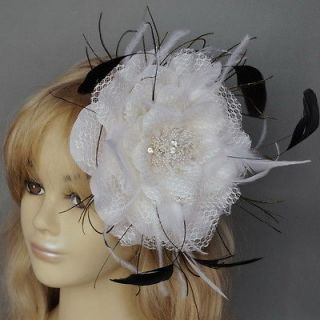 LARGE WHITE FEATHER FLOWER HAIR FASCINATOR CLIP WEDDING PARTY BALL