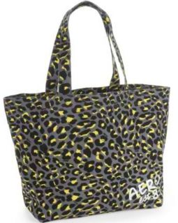 Aero Womens Gray Animal Leopard Spot Print Large Canvas Tote Bag