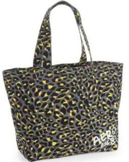 Aero Womens Gray Animal Leopard Spot Print Large Canvas Tote Bag