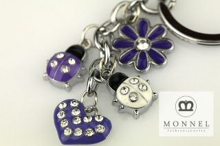 Z390 Cute Lovely Ladybug Flower & LOVE Heart Charms Keychain