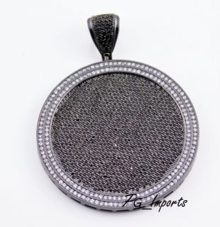 GOLD PLATED BLACK/WHITE CUSTOM PAVE ROUND ICED OUT CZ HIP HOP PENDANT
