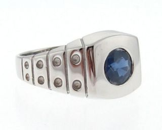 Natural Blue Sapphire Solid 14k White Gold Ring Band