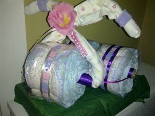 Custom Baby Shower Gift   Diaper Cake, Trike, Bike, Motorcycle, 3 Tier