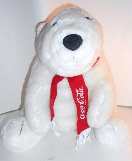 DAKIN Coca Cola Polar Bear White 1993 Stuffed Plush Red Scarf SWEET 14