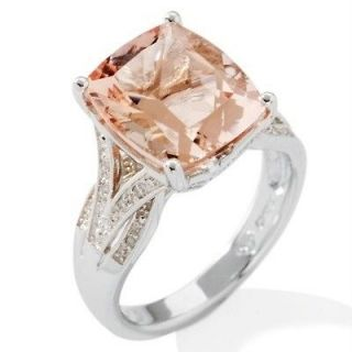 Peach Morganite and Diamond Sterling Silver Cushion Cut Ring Size 9