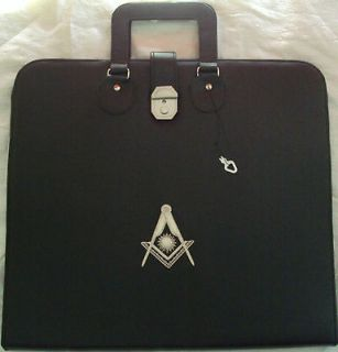 HAND EMBROIDED MASONIC CUSTOM, BLACK , P.M. APRON CASE SILVER