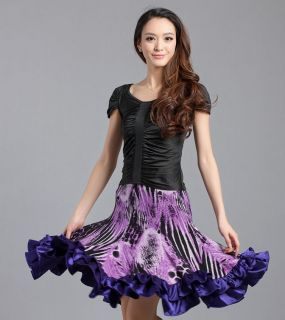 latin dance dress salsa flamingo competition dance costume skirt