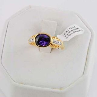 5Ct Oval Sim Purple Amethyst Cz East West Ring 14KT Yellow Gold Ep