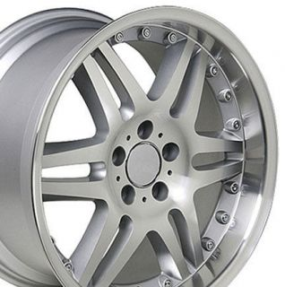 18 8.5/9.5 Silver Split Spoke Wheels Staggered Rims Fit Mercedes
