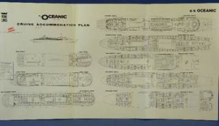 1965 Deck Plan Home Lines Cruises Inc.s/s Oceanic
