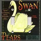 Light Switch Plate Cover   Vintage Fruit Crate Design   Swan Pears