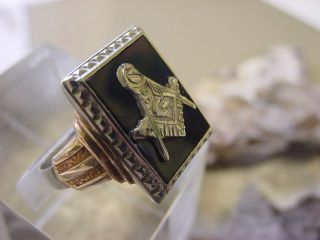 1930s 10K Solid White/ Yellow Gold MASONIC RING ART DECO SIGNED 9 1/2