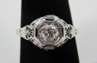 Antique 18KT White Gold Art Deco Approx 0.42ct Old Euro Natural