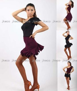 salsa tango chacha ballroom dance dress top + skirt dance costume