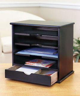 New Black Finish 4 Slot Wood Mail Organizer Home Decor