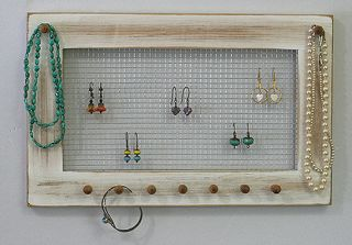 jewelry organizer shabby white necklaces bracelets wall rack display