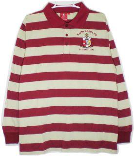 Kappa Alpha Psi Shield Crest Striped Polo Longsleeve Mens Tee