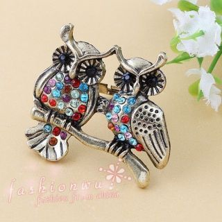 Stylish Premier Design Colorful Rhinestone Double Cute Owl Open Ring