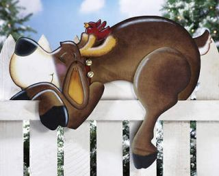 Snoozin Reindeer Outdoor Holiday Fence Topper Christmas Yard Decor