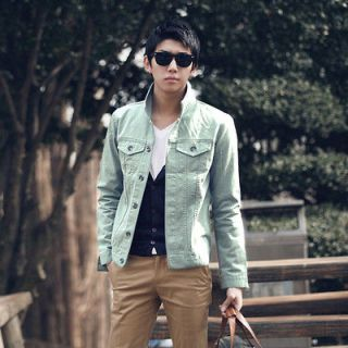 NEW Korean Casual Mens Lapel Jacket Solid Color Washed Cotton Clothes