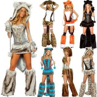 Hot Party Furry Cat Wolf Fox Fancy Dress Halloween Game Costume