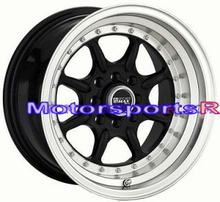XXR 002 Black Rims Deep Dish Step Lip Wheels 4x100 4x4.5 4x114.3 ET +0