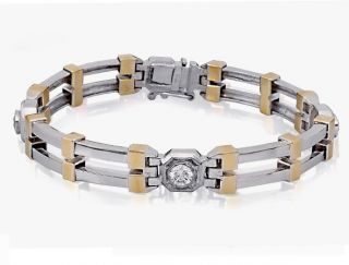 Ct Huge Round Cut Natural Diamond Two Tone 14k Gold Mens Bracelet