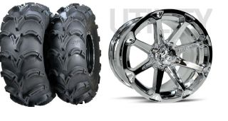 MSA Diesel Chrome 14 ATV Wheels 27 Mud Lite XL Tires Suzuki King
