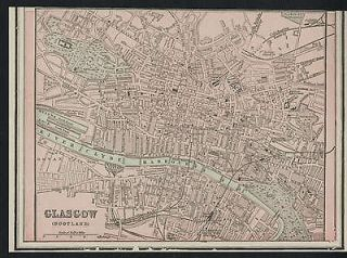 Glasgow Scotland Street Map / Plan Authentic 1899; Detailed but SMALL