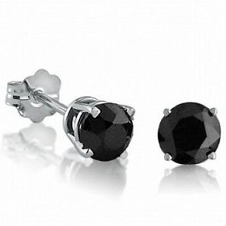 Newly listed 1ct tw Black Diamond Earrings Studs in 10K White Gold