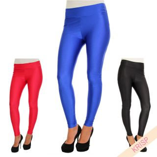 Ladies American Disco Leggings High Waisted Wet Satin Shiny Look Pants