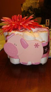 Small one layer baby shower diaper girl pink pig centerpiece