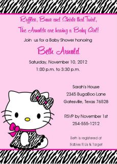 24 Zebra Hello Kitty Birthday/Baby Shower Invitations Personalized