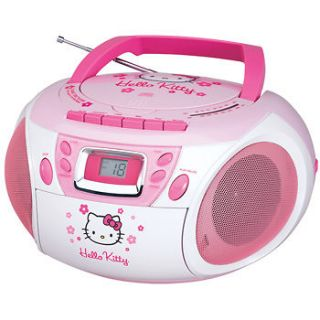 HELLO KITTY CD PLAYER BOOMBOX STEREO CASSETTE RADIO~New