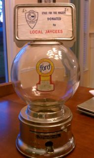 VINTAGE ANTIQUE FORD GUM & MACHINE CO. 1 cent GUMBALL CANDY DISPENSER