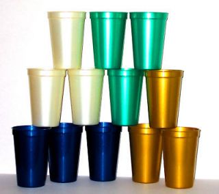 12 16 OZ PLASTIC DRINKING CUPS DRINKING GLASSES PEARL