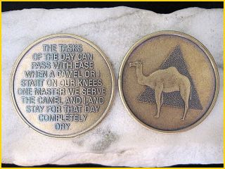 CAMEL POEM vintage style ALCOHOLICS ANONYMOUS Sober Medallion Bronze