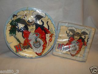 PAN CAPTAIN HOOK 1991 PARTY SUPPLIES DINNER PLATES, LUNCHEON NAPKINS