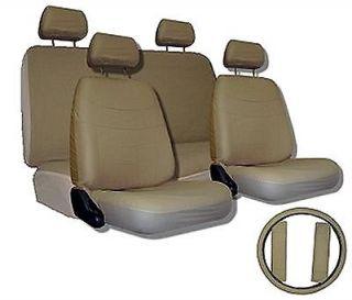 GREY BLACK Car Seat Covers SET w/ Steering Wheel Cover & Belt Shoulder