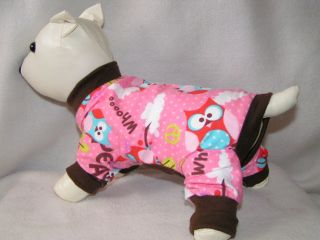 Pink Owls TC 6L Dog PJS 4 legged Flannel pet Pajamas Tiny Puppy