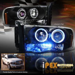 DRL w/HALO Projector Headlights BLACK(Fits 2004 Dodge Ram 1500 SLT