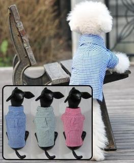 Dog Shirts Pet Plaid Shirt Wholesale Dog Clothes 3 Colors Cotton Blue