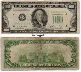 1950 $100 Dollar Bill Cleveland